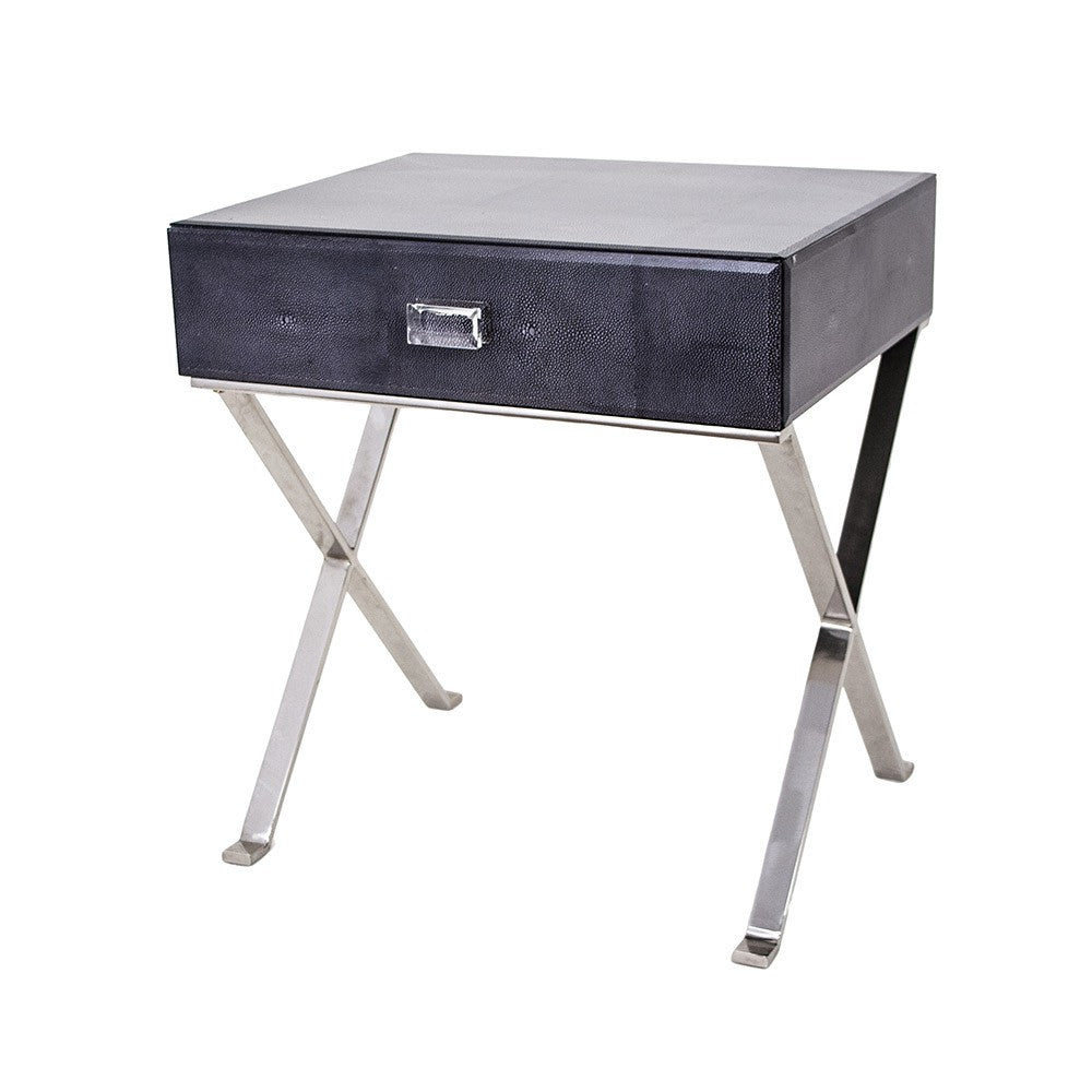 Betsy Grey Shagreen Bedside Table