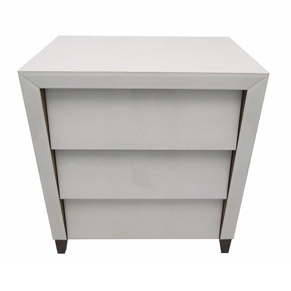 Betsy Ice White Shagreen 3 Drawer Chest