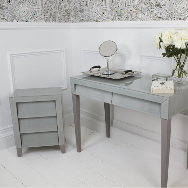 Betsy Soft Grey Shagreen Bedside Chest Shropshire Design