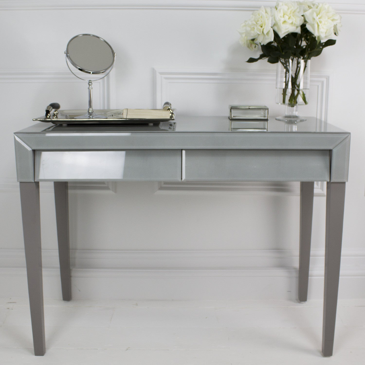 Betsy Soft Grey Shagreen Dressing Table Shropshire Design