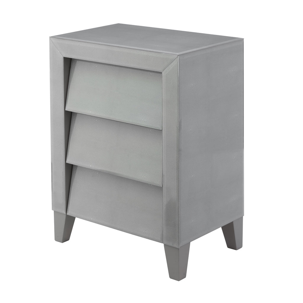 Betsy Soft Grey Shagreen Bedside Chest