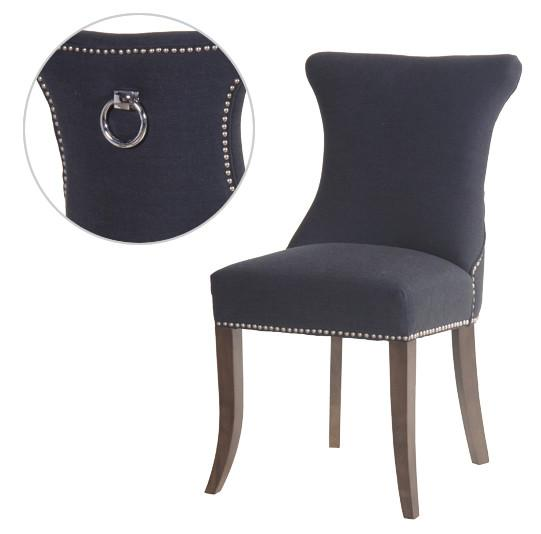 Dark Grey Slim Studded Dining Chair with Silver Ring