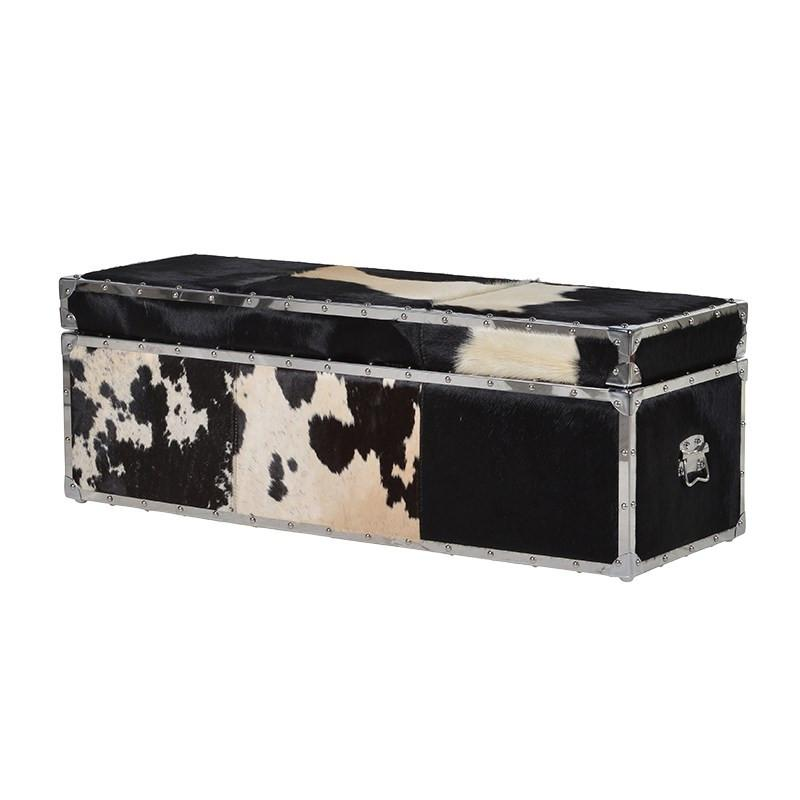 Black and White Cowhide Cargo Trunk