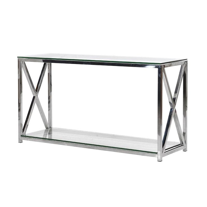 Boston Solid Stainless Steel & Glass Criss Cross Console Table