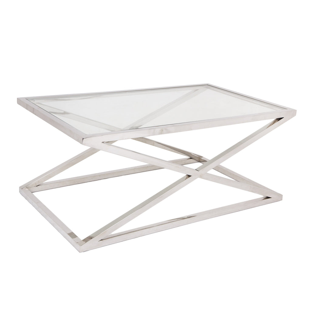 RV Astley Nico Stainless Steel & Glass Coffee Table
