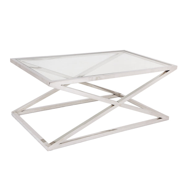Glass Coffee Table With Stainless Steel Legs: RV Astley Nico Stainless Steel & Glass Coffee Table
