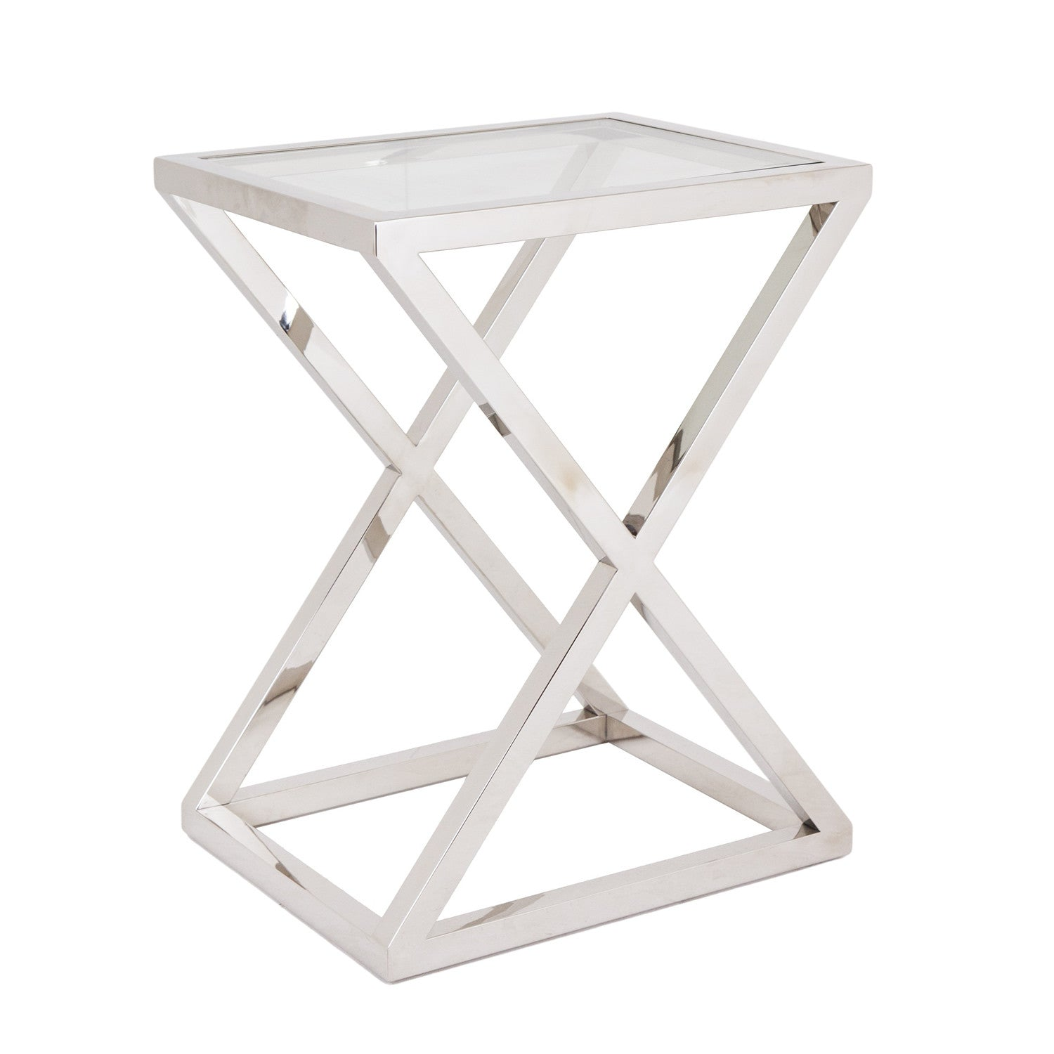 Rv astley nico stainless steel glass side table for Glass furniture