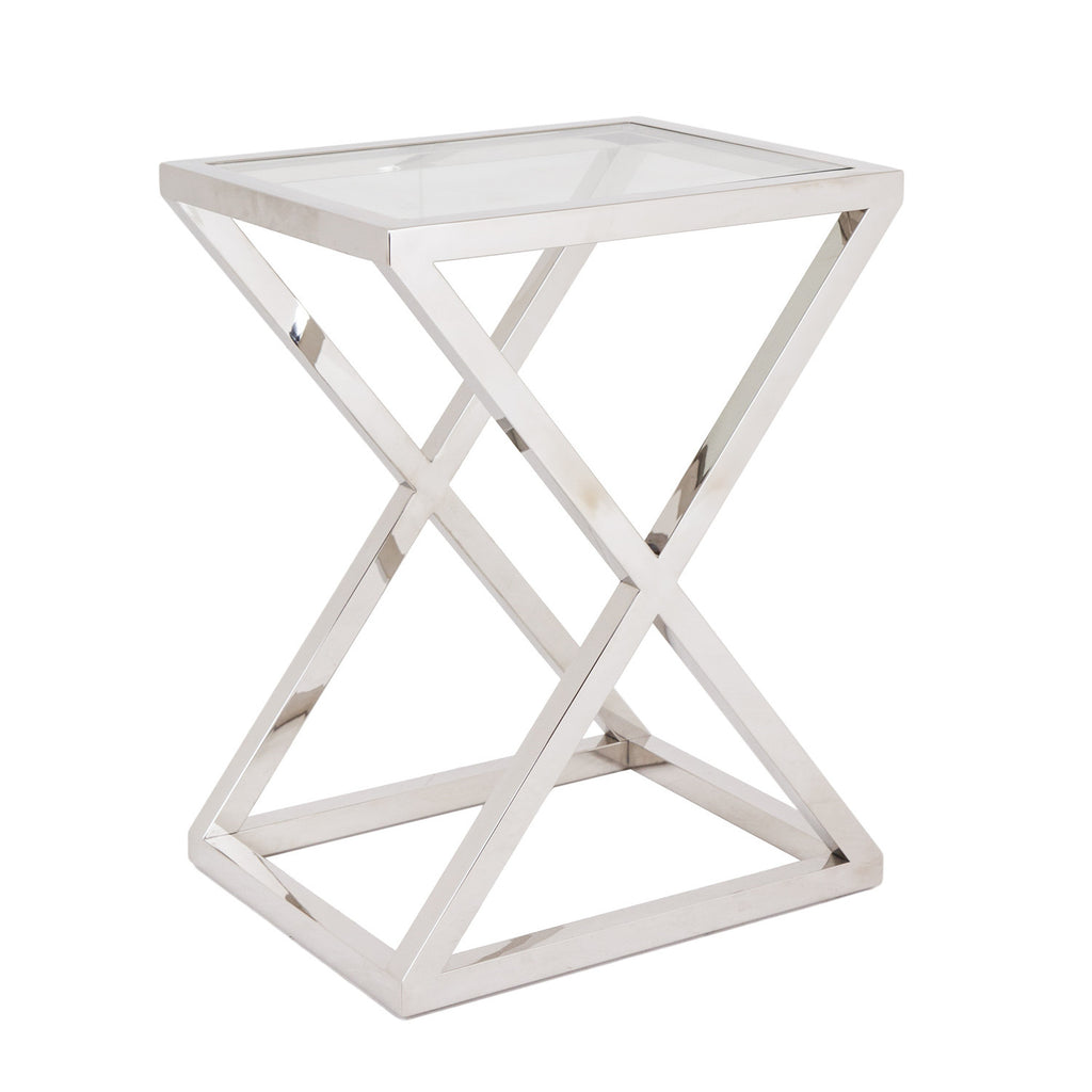 RV Astley Nico Stainless Steel & Glass Side Table
