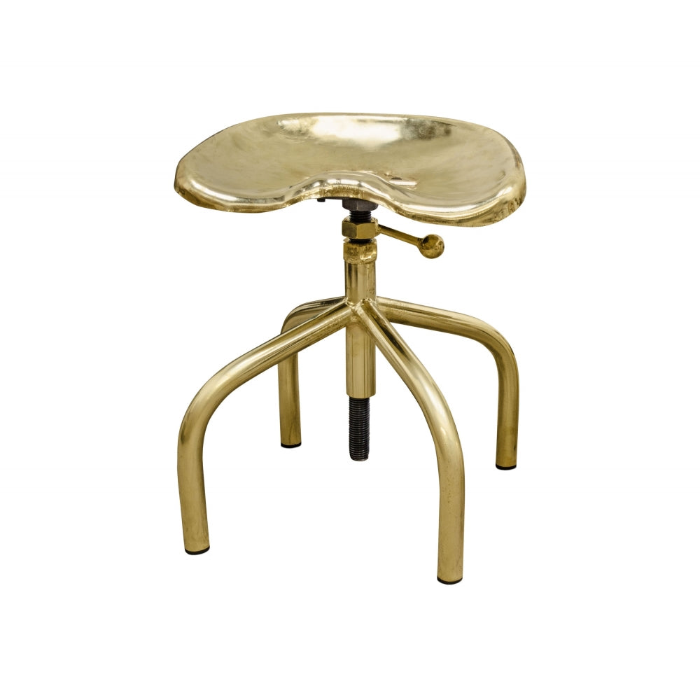 Burdon Gold Chair with Brass Plated Steel and Height Adjustable Seat
