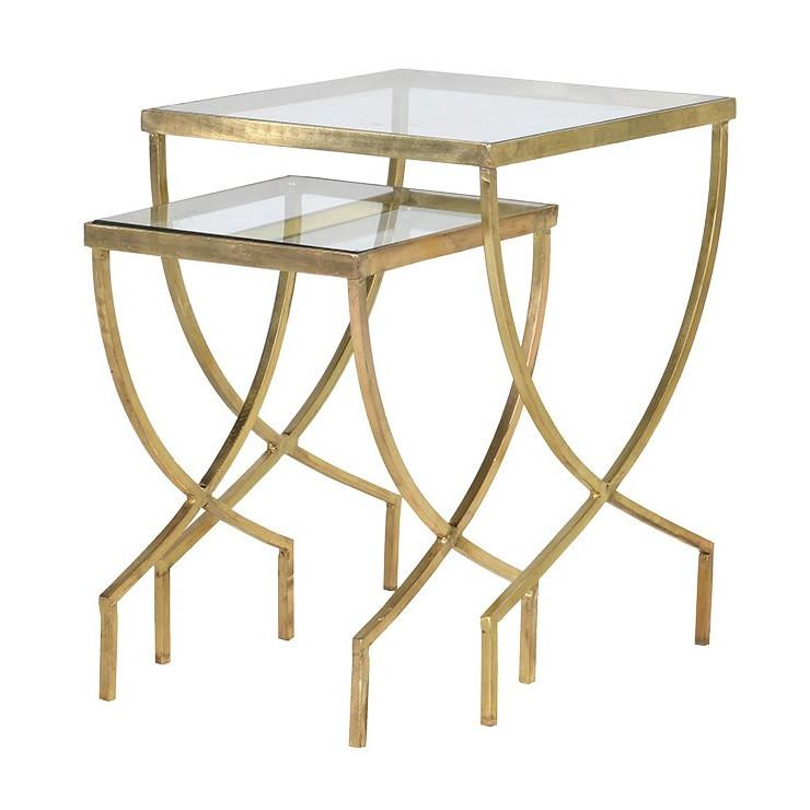 Cannes Gold & Glass Nest of Side Tables