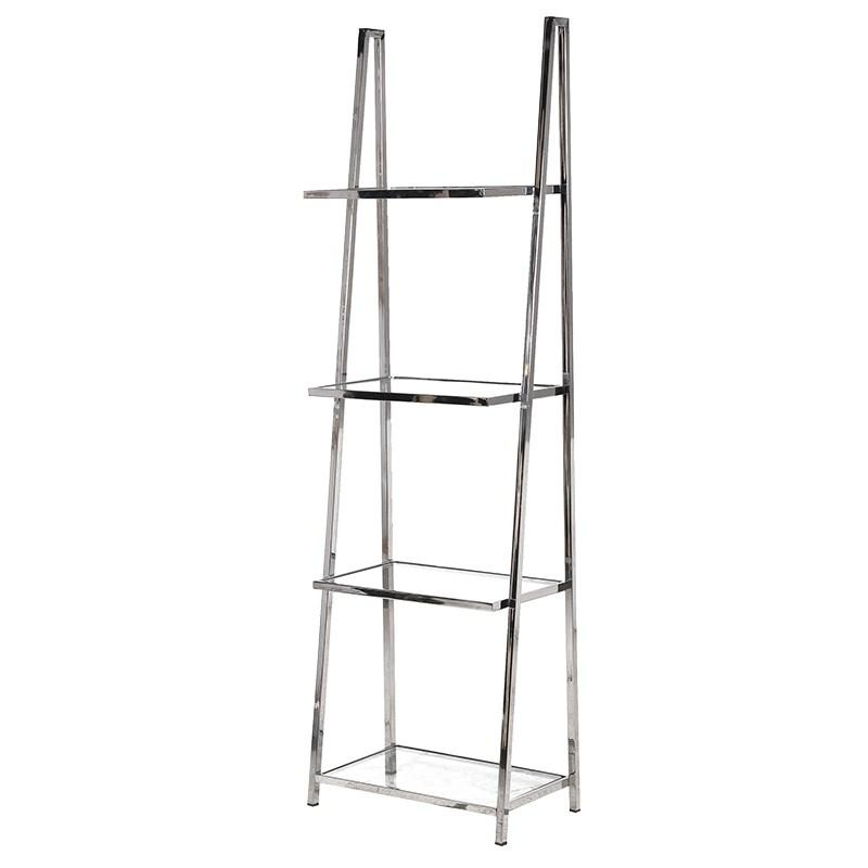Carmine Chrome & Glass Shelving Unit