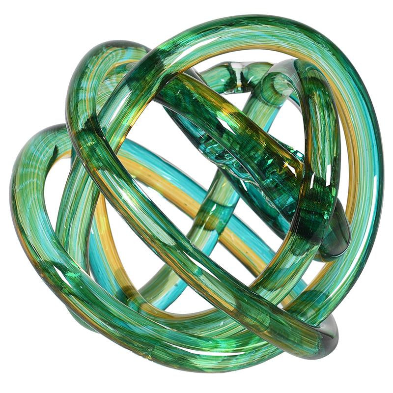 Celtic Green & Yellow Glass Knot Ornament