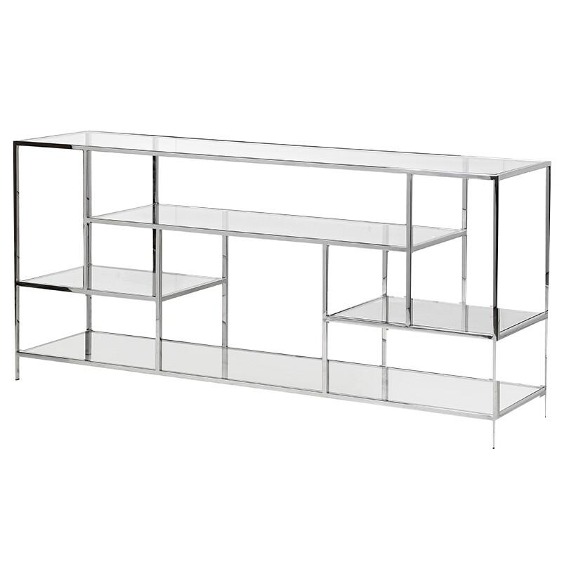 Chicago Low Metal and Glass Shelf Unit