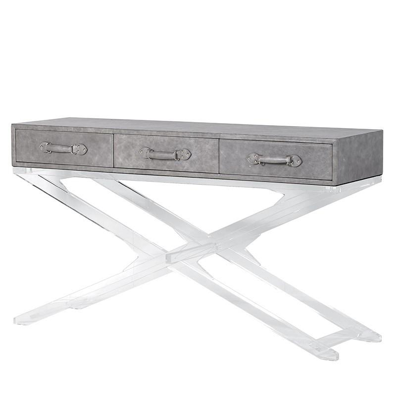 Clifton Soft Grey Leather & Acrylic Console Table