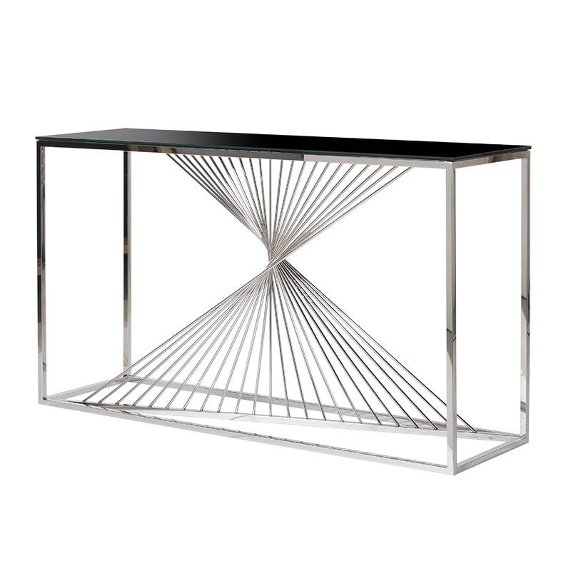 Contortion Steel & Black Glass Console Table