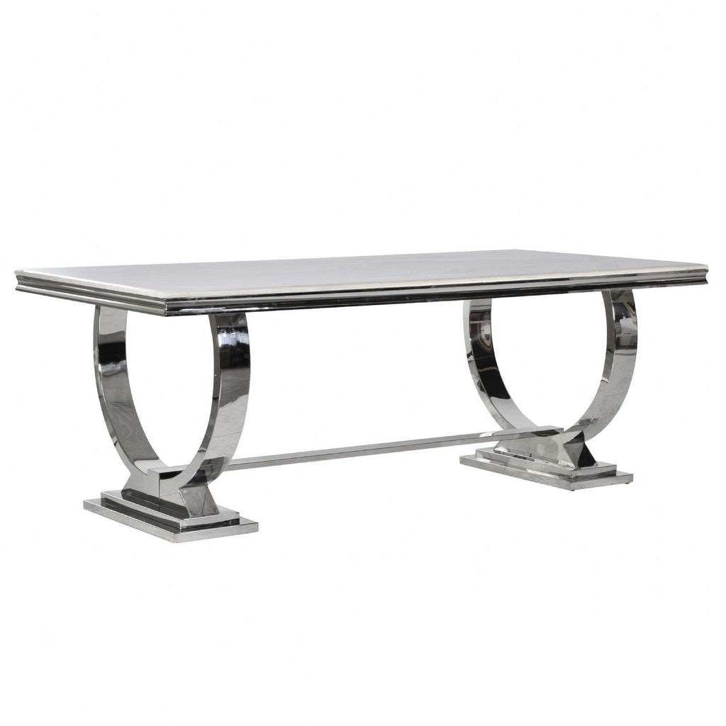 Cream Marble and Chrome Dining Table with U-Shaped Legs