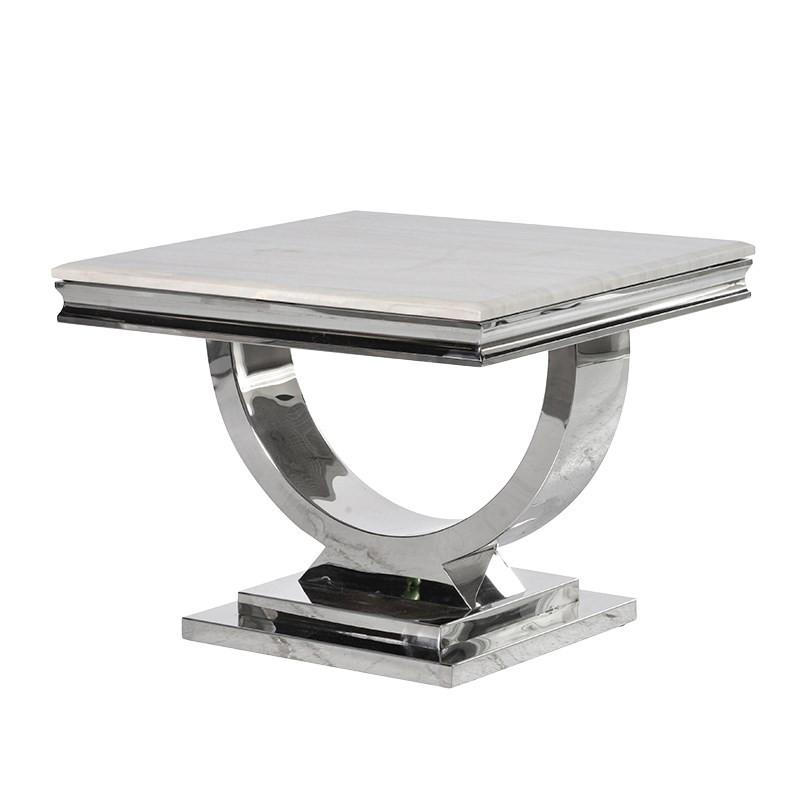 Cream Marble and Chrome U-Shaped Side Table
