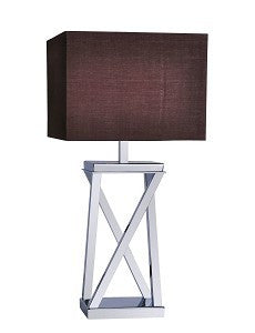RV Astley Xonomy Nickel Cross Table Lamp with Mule Shade