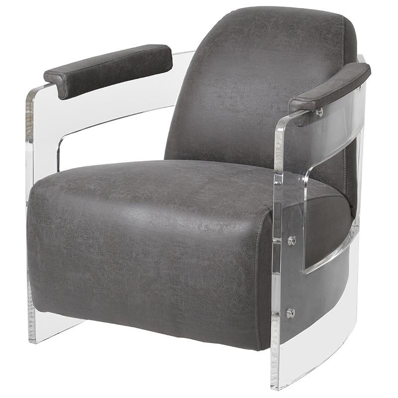 Milano Rocket Leather and Acrylic Armchair