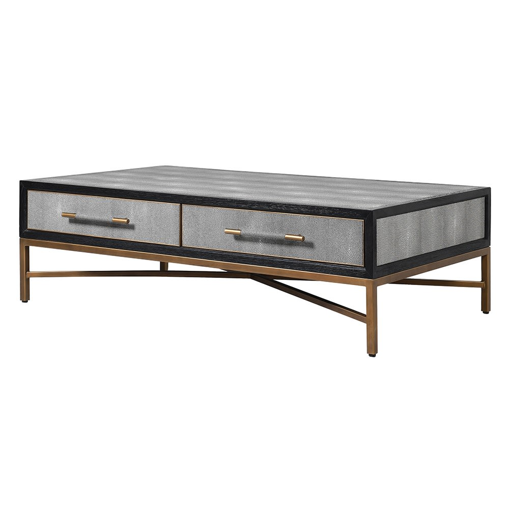 Dellora Coffee Table in Oak and Faux Shagreen