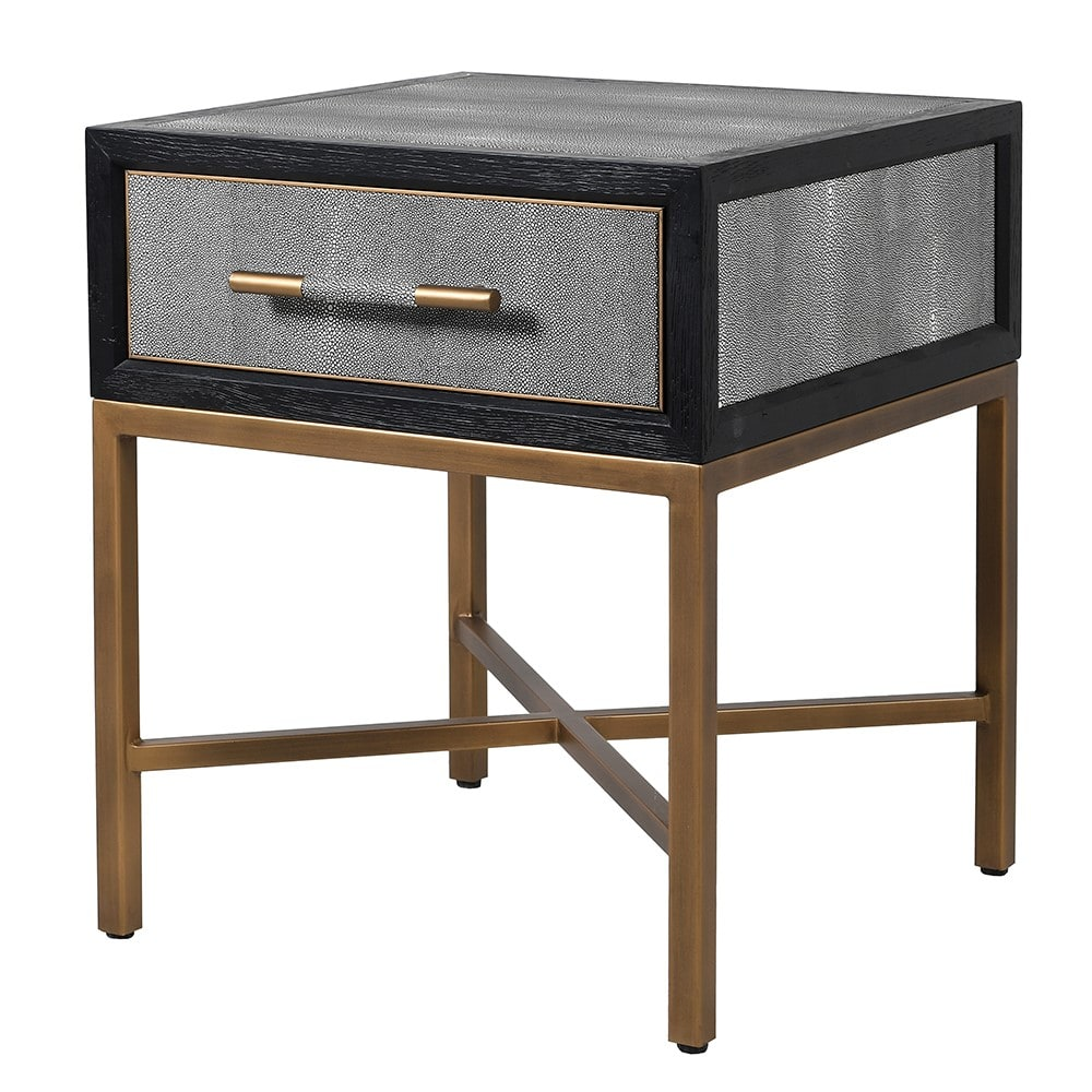 Dellora Side Table in Oak and Faux Shagreen