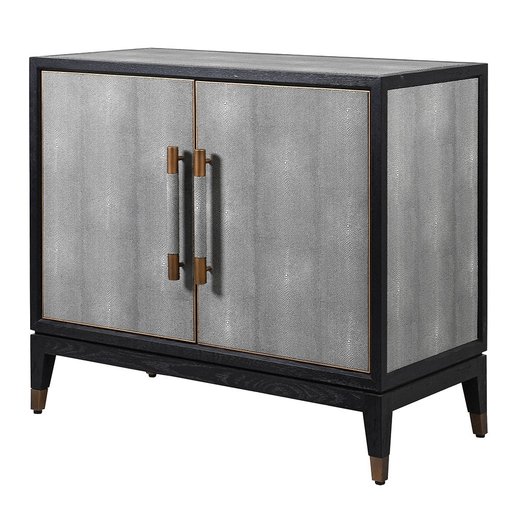 Dellora Small Cabinet in Oak and Faux Shagreen