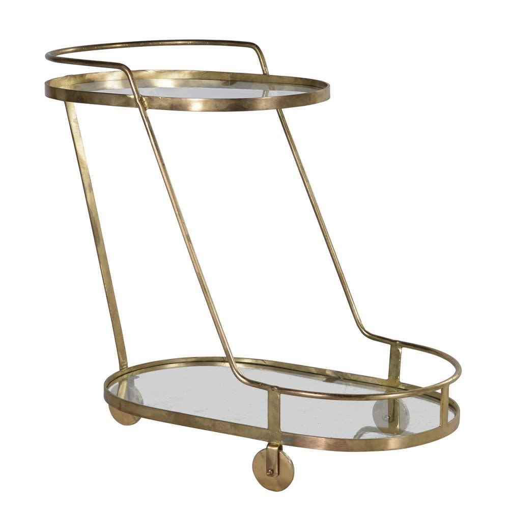 Double Deck Golden Oval Drinks Trolley in Iron and Brass