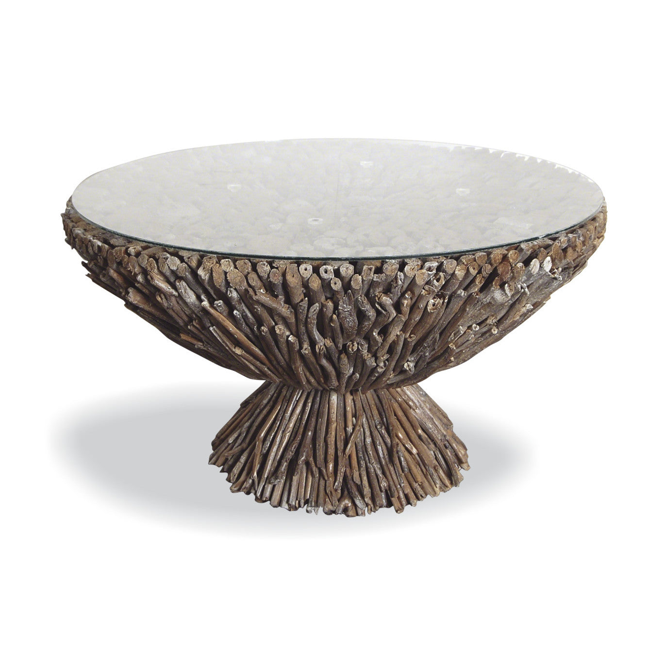 Driftwood And Glass Round Coffee Table Shropshire Design