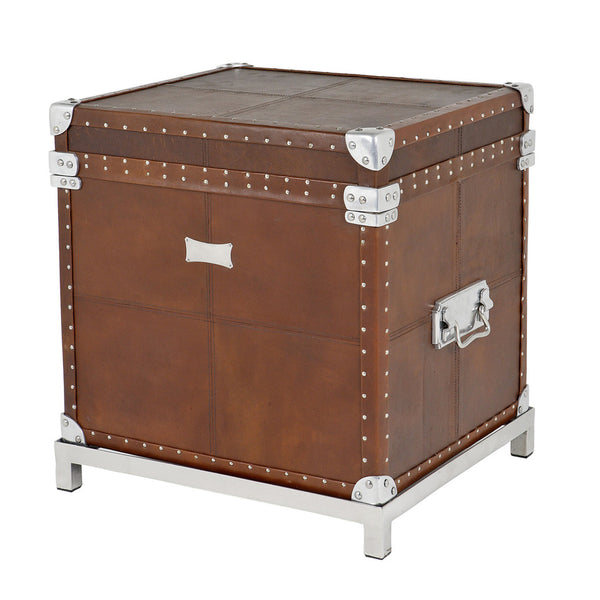 Eichholtz Brown Leather Flight Case Trunk