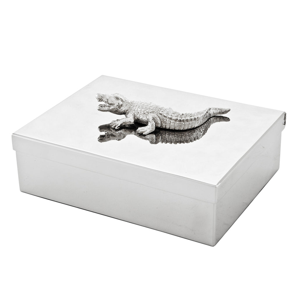 Eichholtz Stainless Steel Jewel Box with Croc Handle