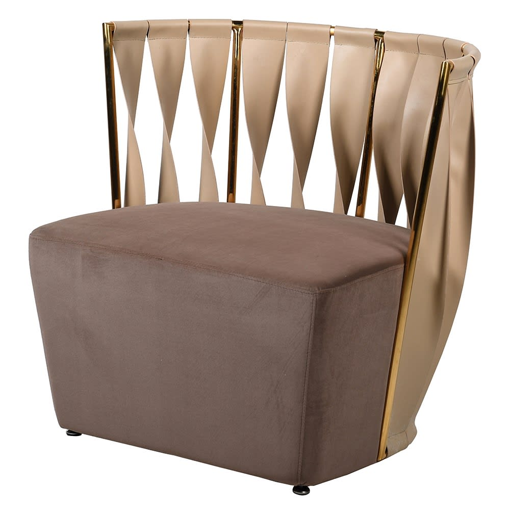 Emilie Strap Back Chair in Mushroom Velvet