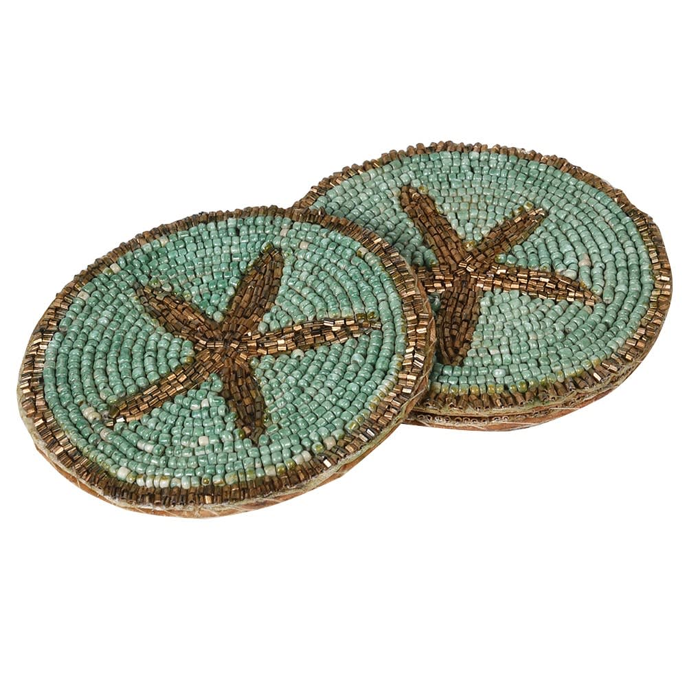 Etoile Beaded Coasters with Individually Strung Glass Beads