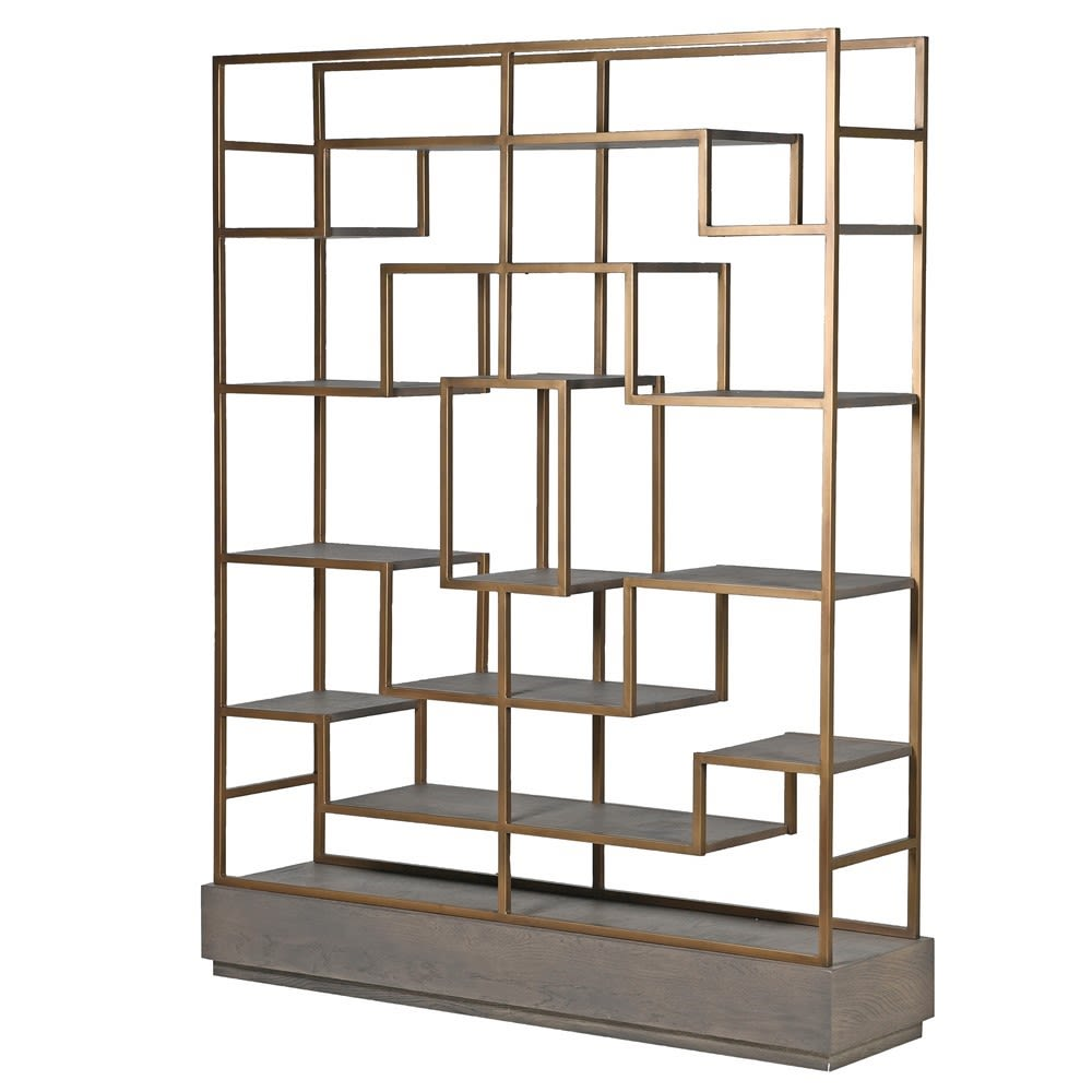 Fernsby Multi-Shelf Gold Unit with Oak and Brass