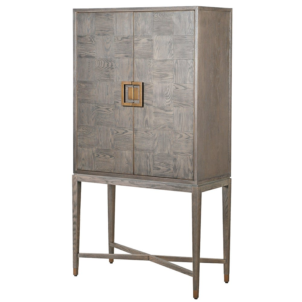 Fernsby Squares Bar Cabinet with Oak and Brass