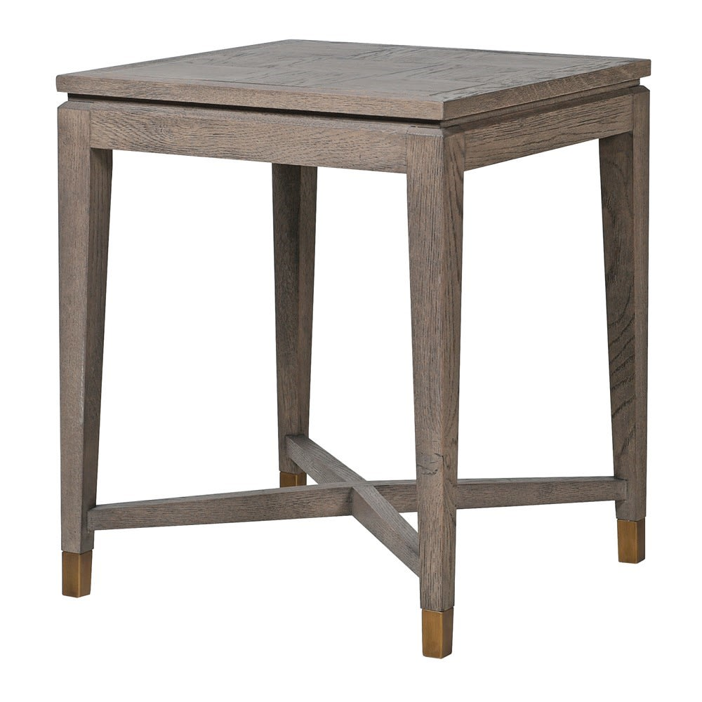 Fernsby Squares Side Table with Oak and Brass