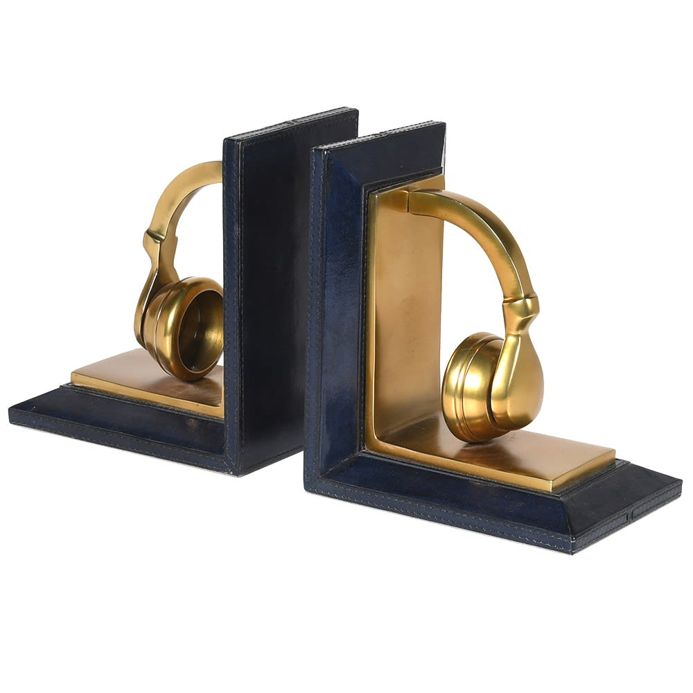Golden Beats Headphone Bookends with Blue Leather