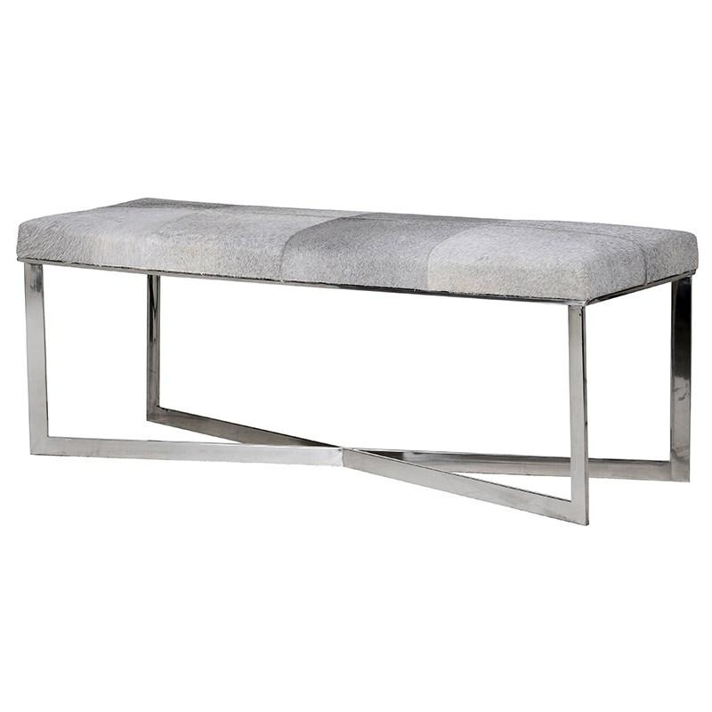 Grey/Brown Cowhide Chrome Bench