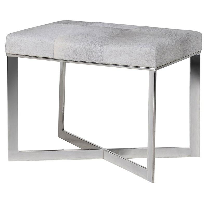 Grey Brown Cowhide Chrome Wide Stool Shropshire Design