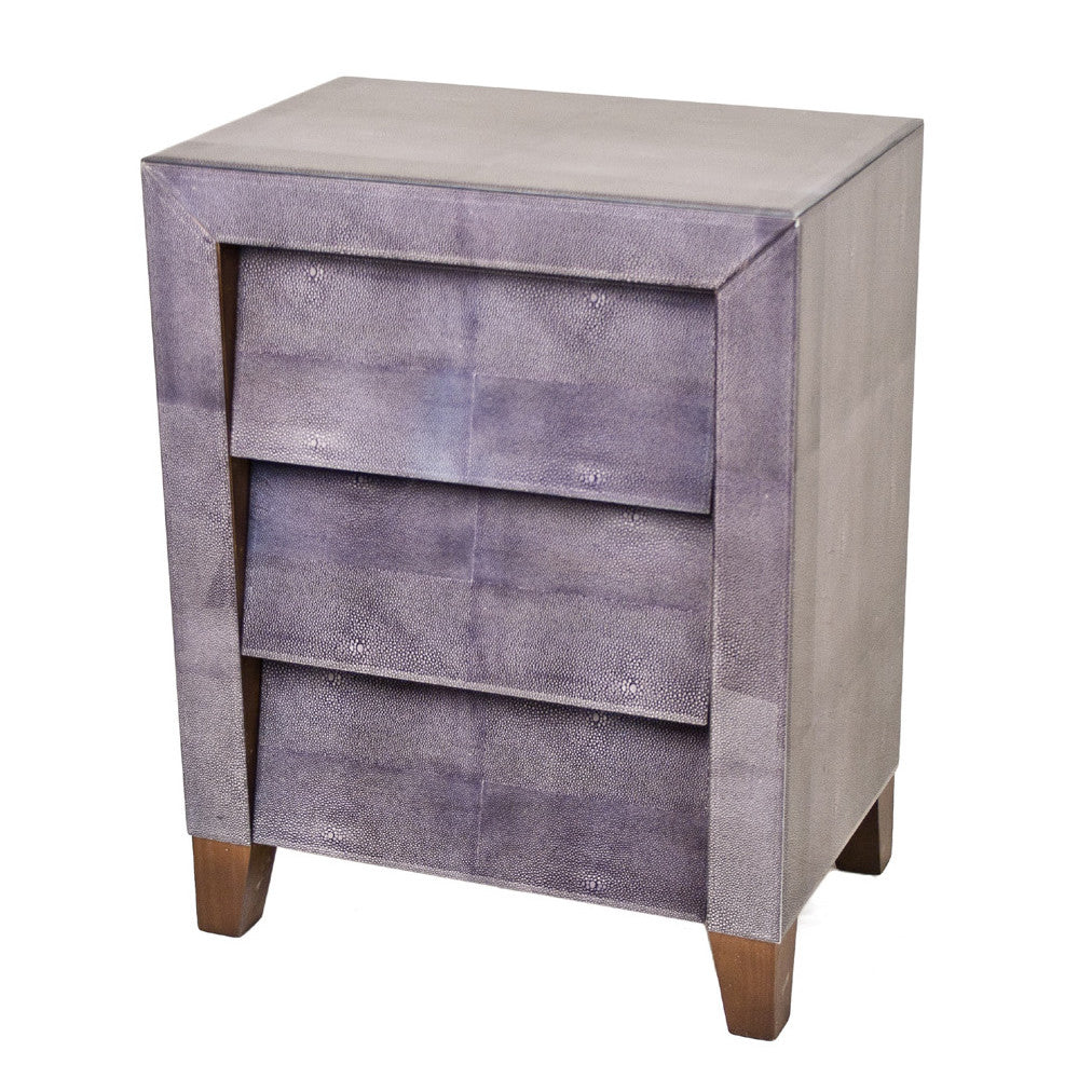 Betsy Grey Shagreen Slanted 3 Drawer Bedside Table