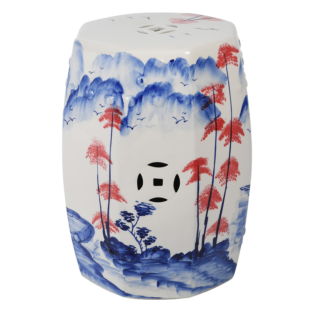 Guan Ceramic Stool in Ceramic with Hand Painted Detail