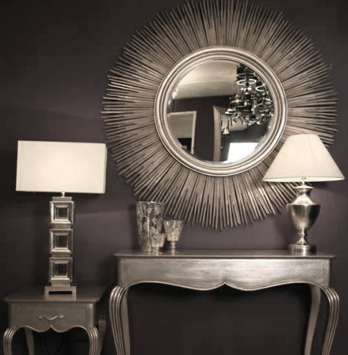 Rv astley huge silver bamboo sun mirror shropshire design for Big silver mirror