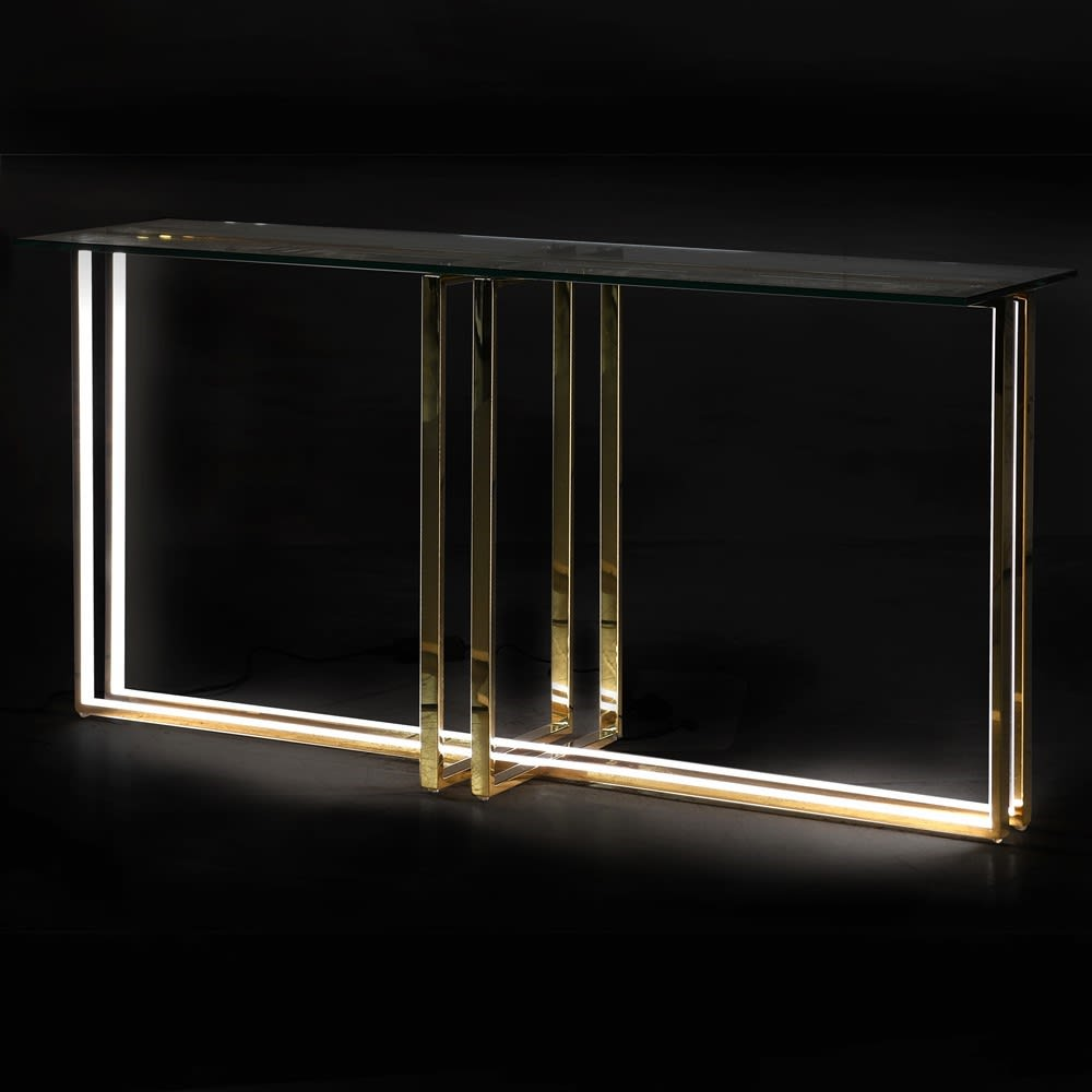 Illuminaire Gold LED Console Table