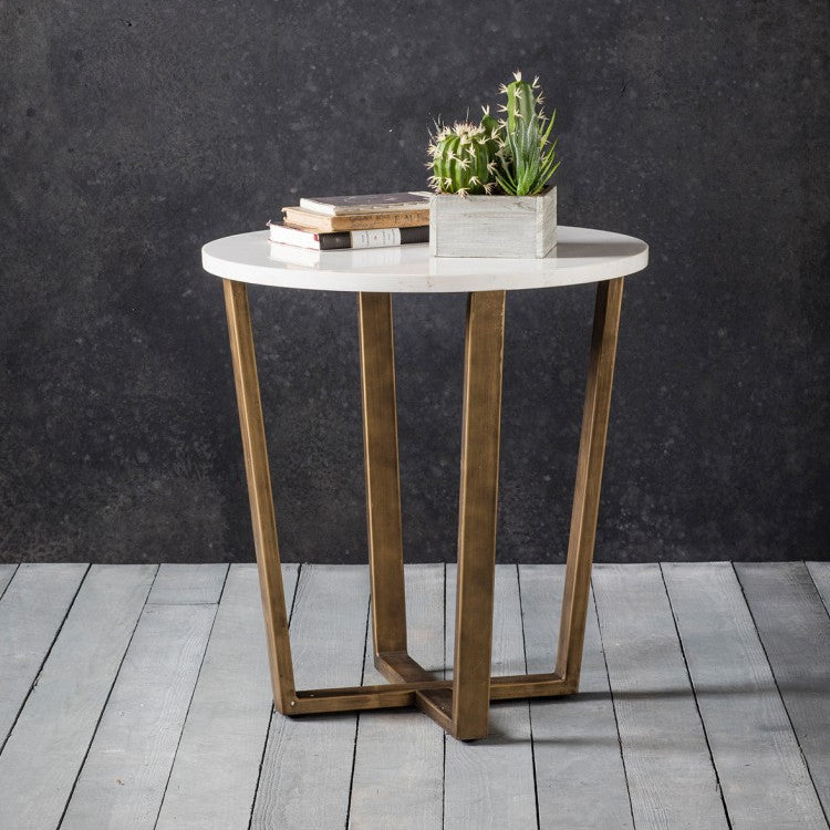 Imanni White Side Table