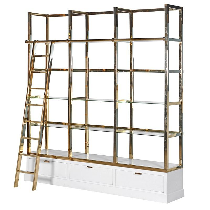 Immaculee White & Gold Library Shelves Unit With Ladder