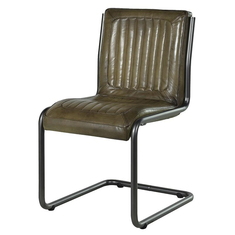 Industrial Loft Leather Dining Chair - Olive Brown