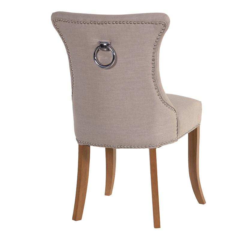 Ivory Slim Studded Dining Chair with Silver Ring