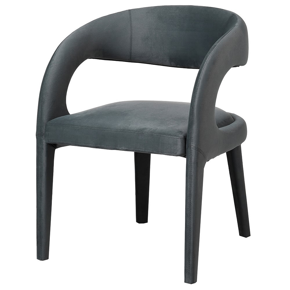 Kora Curved Chair in Grey Upholstery
