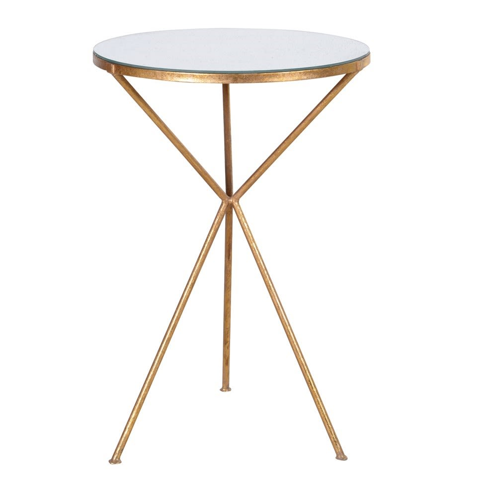 Lacey Lamp Table with Mirror Top and Tripod Legs