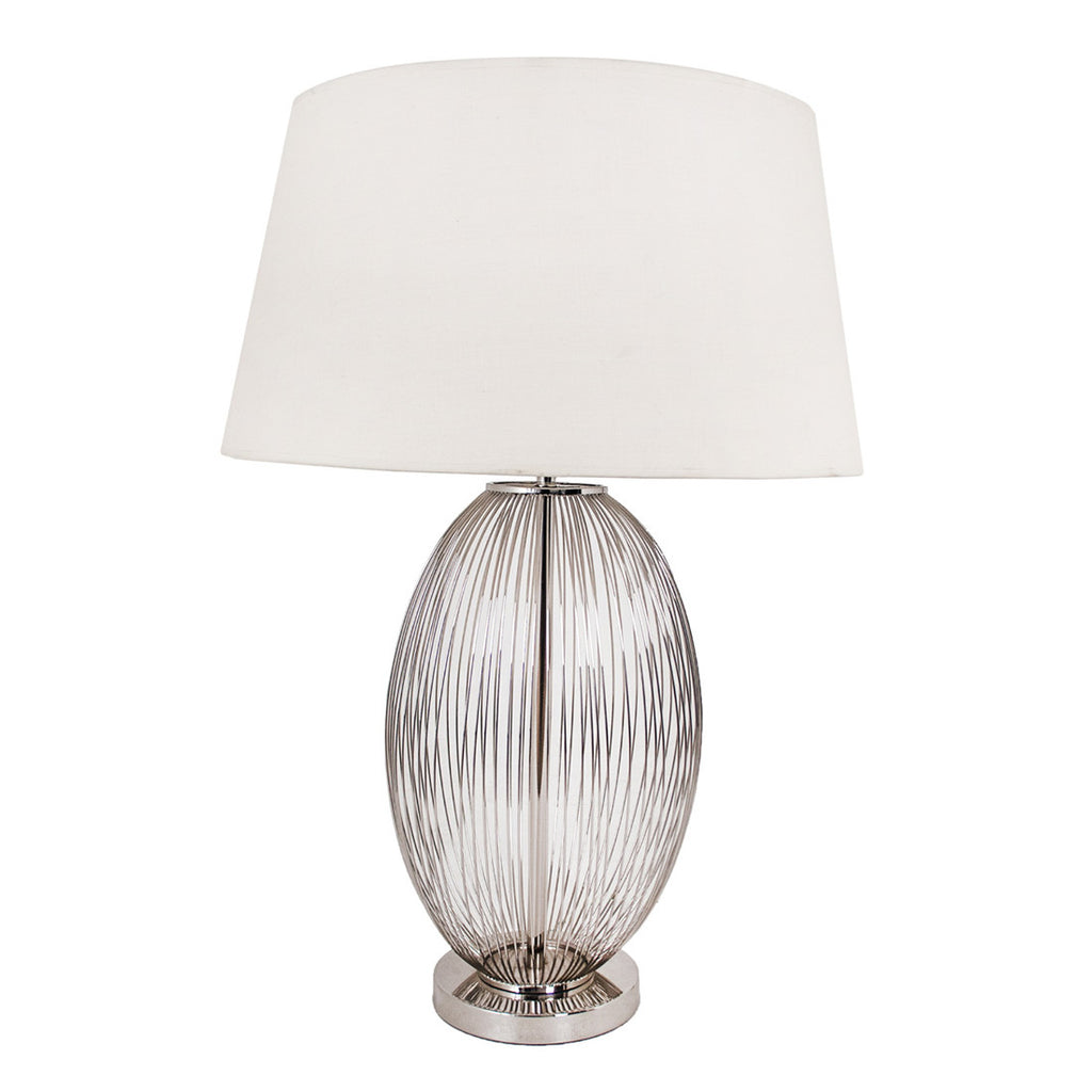 Large Round Nickel Grill Table Lamp