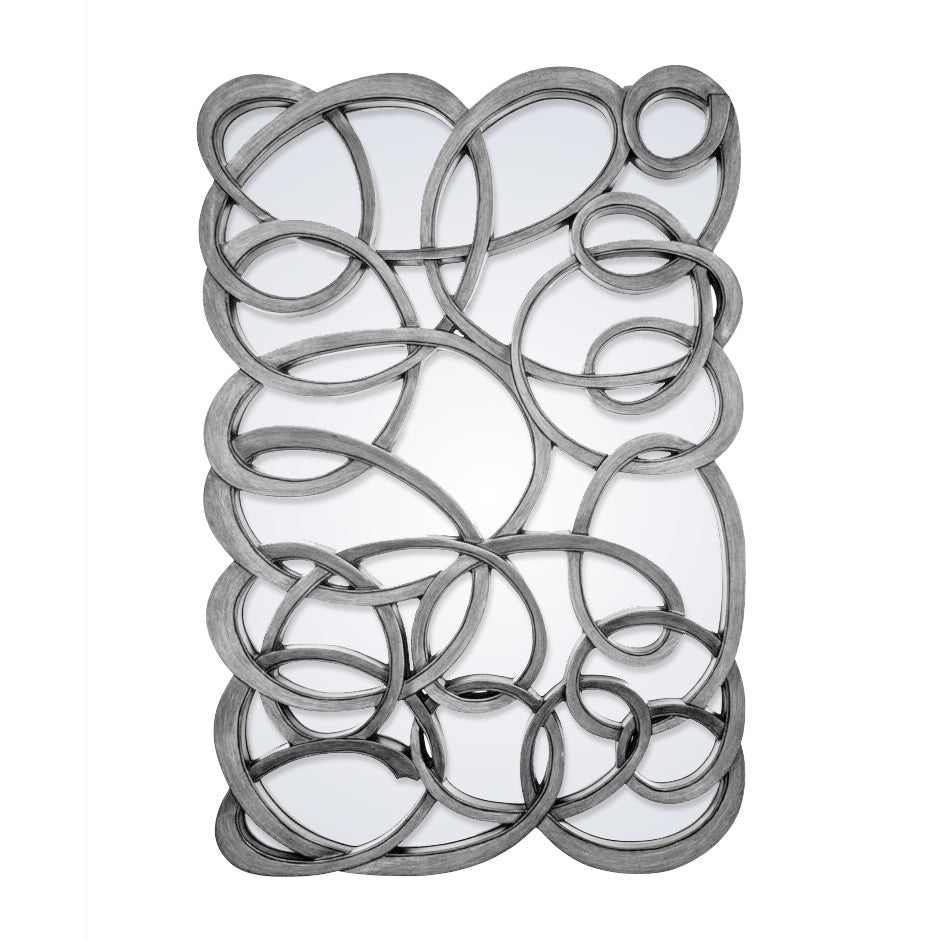 Rv astley large silver scribble swirl mirror shropshire for Cheap silver mirrors